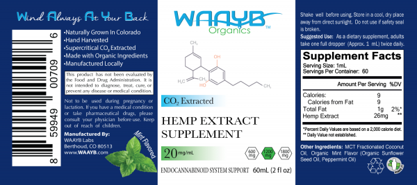 WAAYB Organics 1200mg Mint Hemp Extract Oil