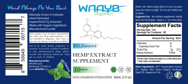 WAAYB Organics 600mg Mint Hemp Extract Oil